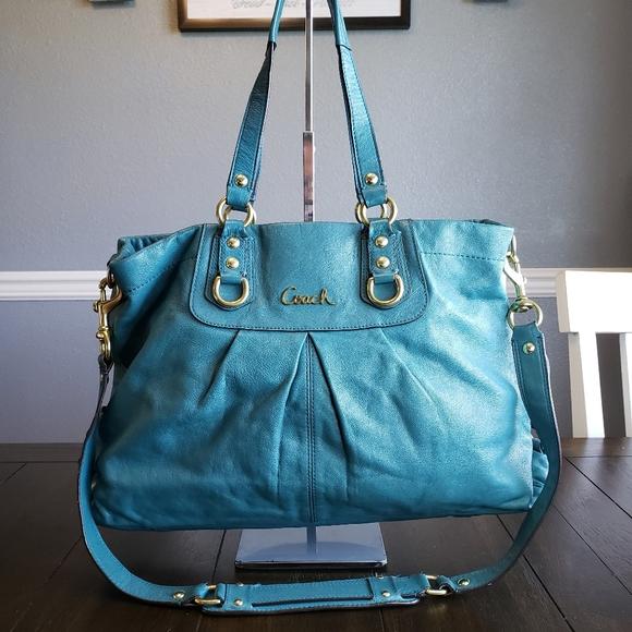 Coach Ashley Teal Blue Leather Handbag